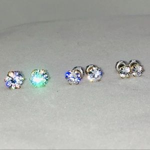 Jewelry - 3 pairs earrings cubic zirconia gold studs
